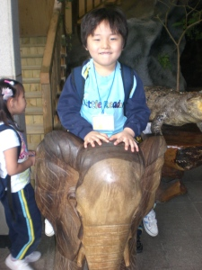 Matthew atop an elephant. Half of all Korean field trips are actually photo-ops.